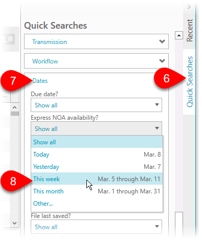 Express NOA Client Manager search