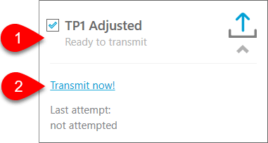Screen capture showing the adjusted TP1 return as ready to transmit