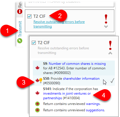 Resolve outstanding T2 CIF errors