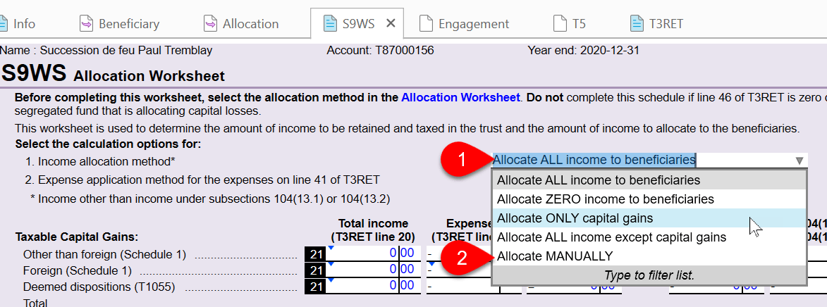 Screen Capture: Select Income Allocation Method