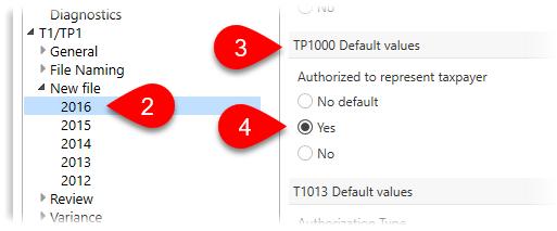 Default TP1000 in options