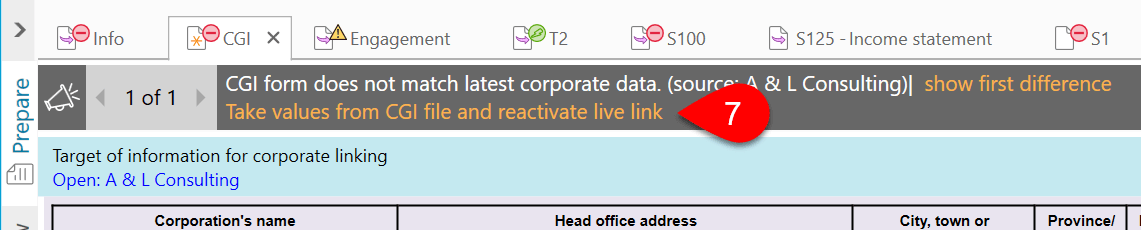 Take values from CGI file and reactivate live link