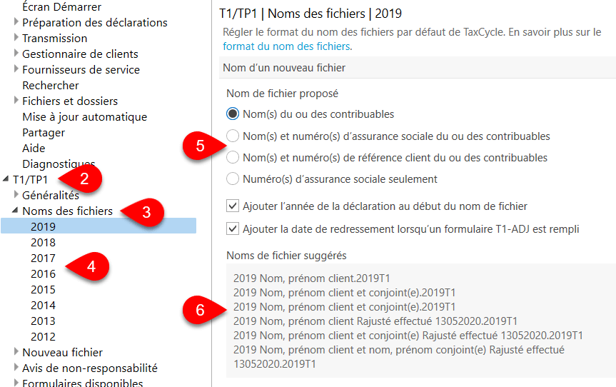 Image : options T1/TP1 noms des fichies 2019