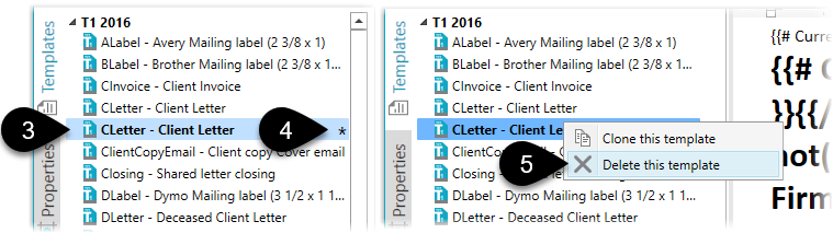 Cloned templates in the sidebar