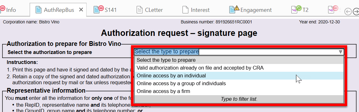 Screen Capture: Select Authorization Type on AuthRepBus