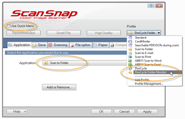 ScanSnap profile dialog
