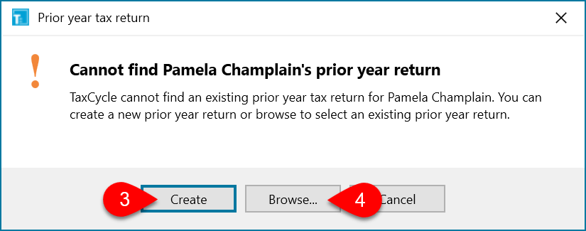 Screen Capture: Cannot Find Prior Year Return