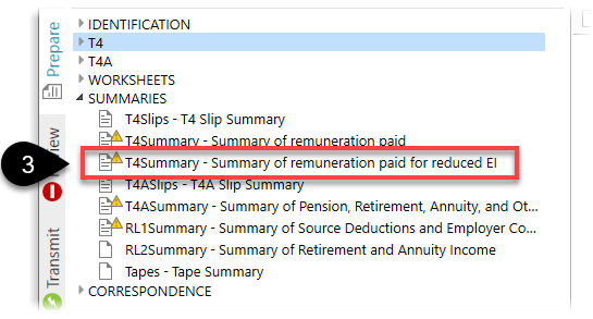 Reduced EI summary in the Prepare sidebar