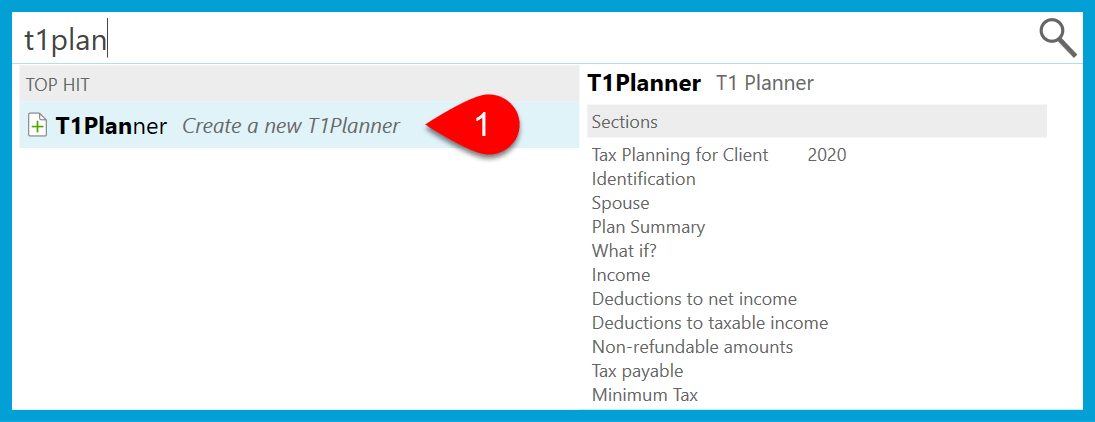 Screen Capture: T1 Planner in Fast Find