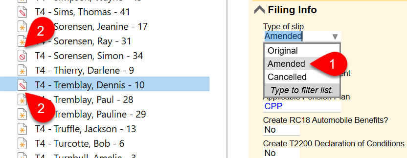 Screen Capture: Slip Type Field and Amended Icon