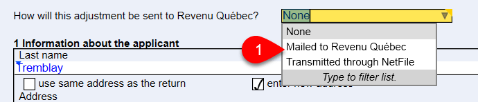 Screen capture showing how the adjustment will be sent to Revenu Québec