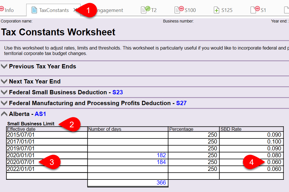 Screen Capture: Tax Constants Worksheet