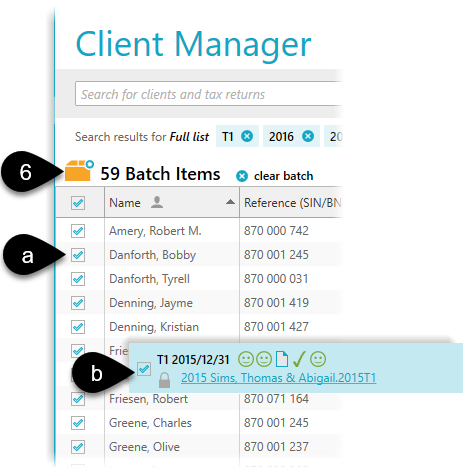 Select clients and then go to the batch screen