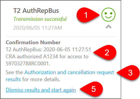 Screen Capture: AuthRepBus Success