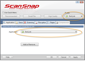 Configure ScanSnap to send DoxCycle