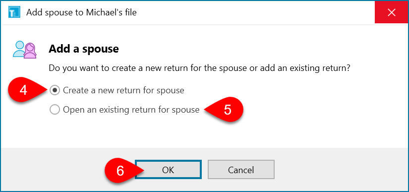 Screen Capture: Add a Spouse