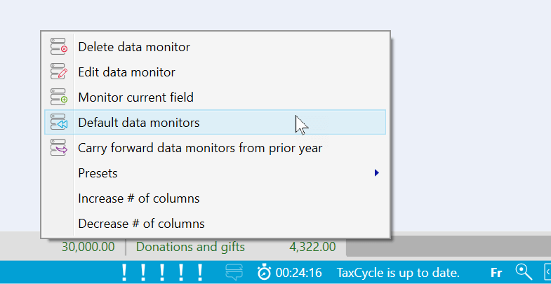 Screen Capture: Default Data Monitors