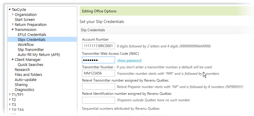 Slips credentials page in options
