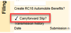 Clear the carry forward slip check box to prevent carry forward