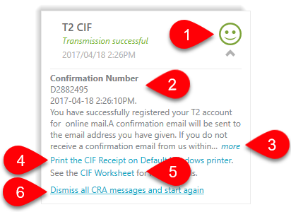Successful T2 CIF transmission