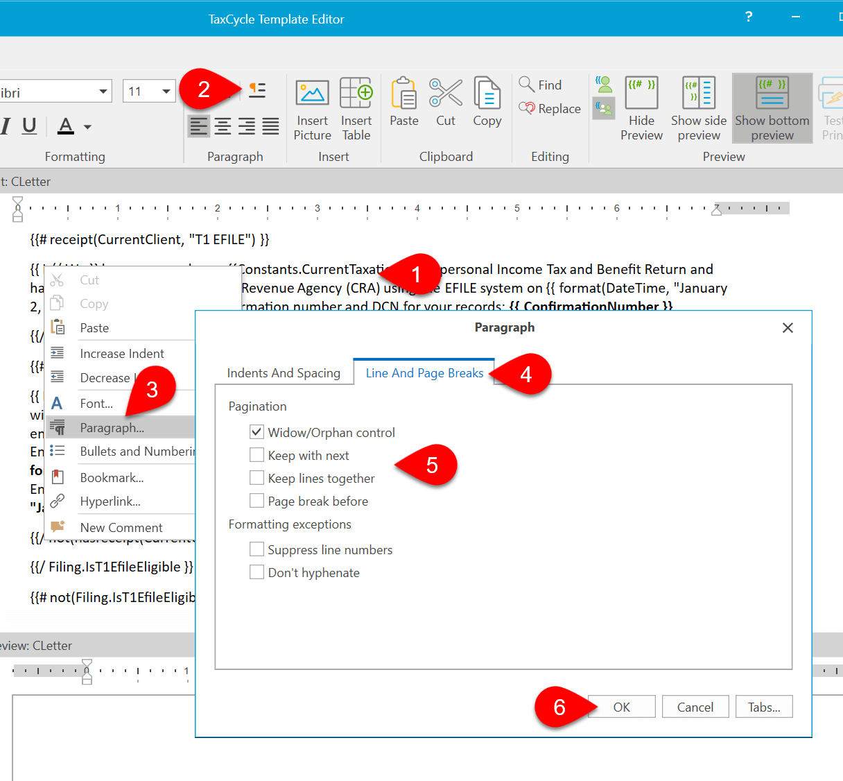 Screen Capture: Go To Paragraph Properties