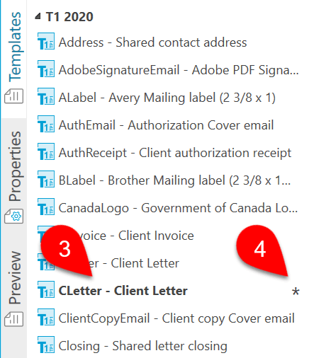 Screen Capture: Cloned Template in Sidebar