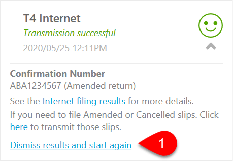 Screen Capture: T4 Internet Dismiss Results and Start Again