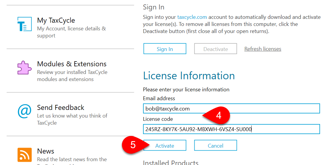 Screen Capture: Enter Licence Code | Help Screen