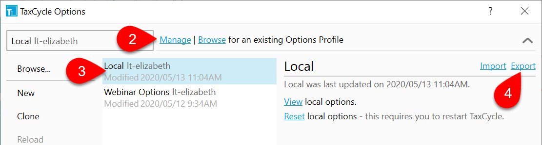 Screen Capture : How to Export an Options Profile