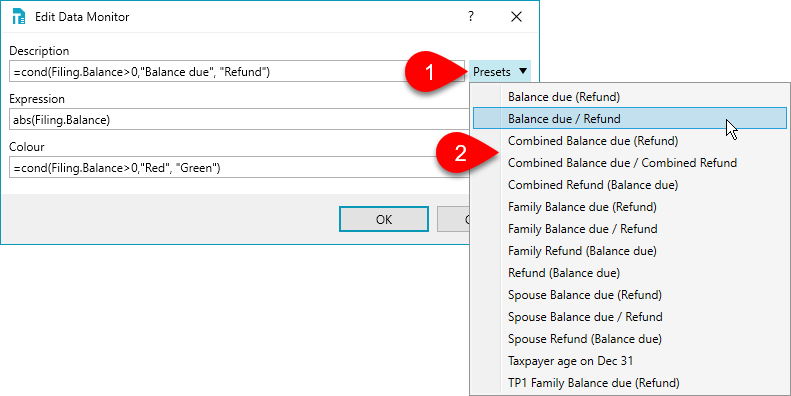 Select and view preset expressions