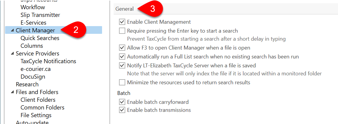 Screen Capture: Client Manager General Options