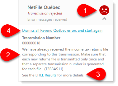 Rejected NetFile Québec error