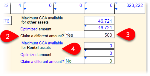 Claim a different CCA amount