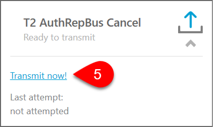 Screen Capture: Transmit T2 AuthRepBus Cancel